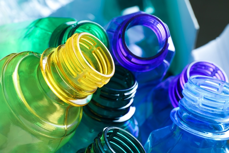 Different colours and types of plastics