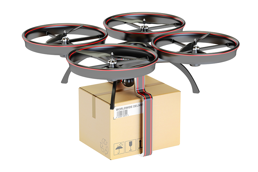 Drone with parcel to be delivered