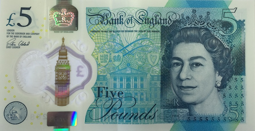 plastic five pound note