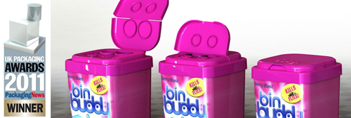 Plastic packaging for Bin Buddy product