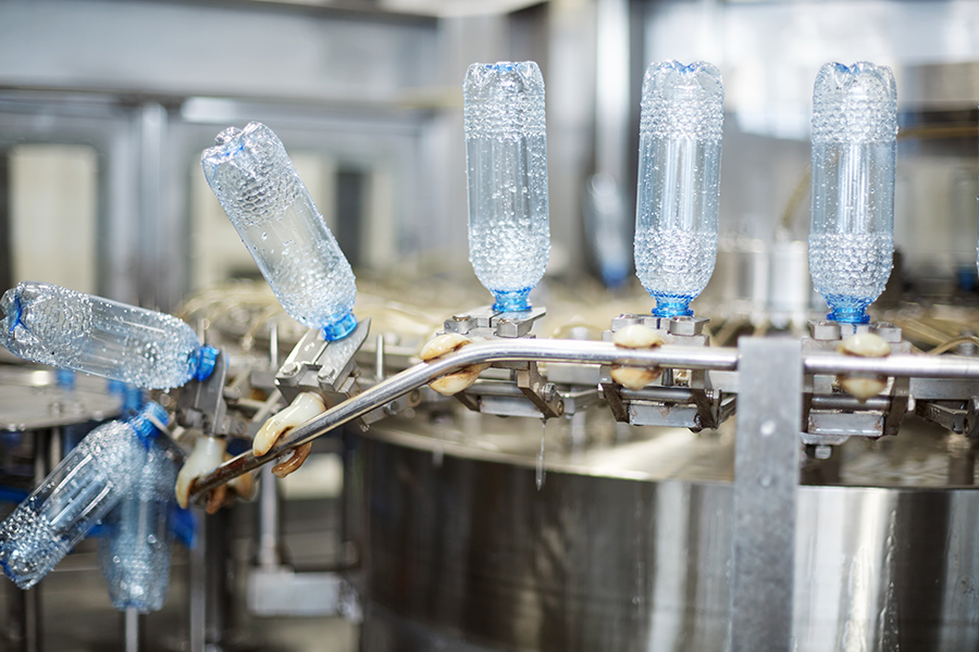 PET bottles being manufactured