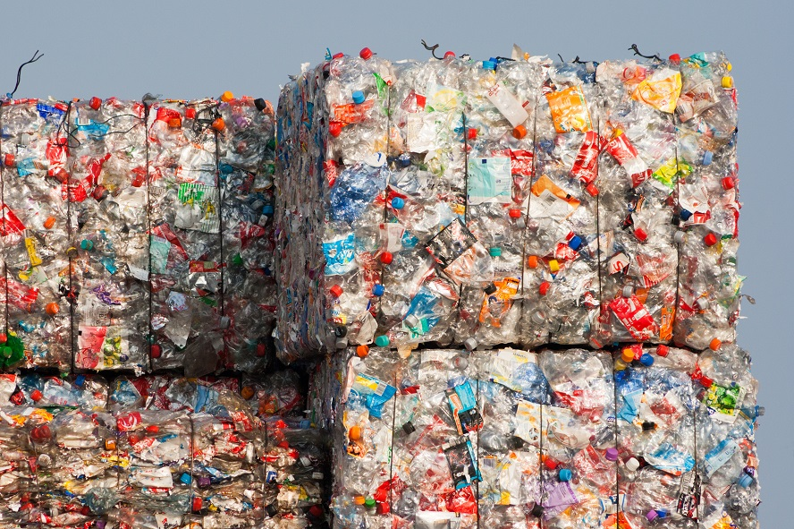 Bales of Plastic Waste to be Recycled